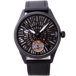 FIBER 法柏 黑旋風手上鍊機械腕錶-IP黑/雕花機芯/42mm
