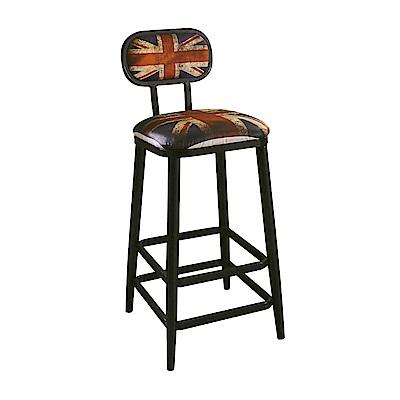 AT HOME-工業風設計英國國旗高腳吧台椅(40*48*103cm)