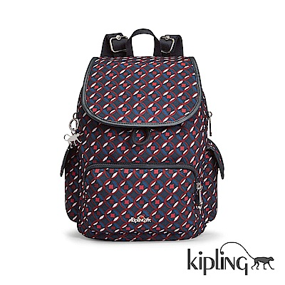 Kipling 後背包 紅藍幾何印花-中