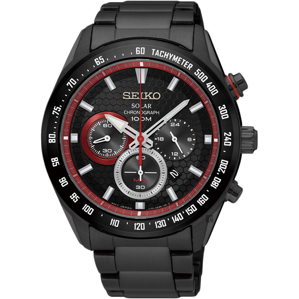 SEIKO精工 Criteria 太陽能計時手錶(SSC593P1)-鍍黑x紅圈/43mm