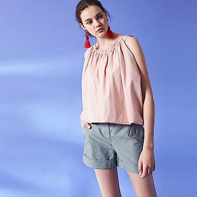 ICHE 衣哲 輕時尚簡約立體空氣感無袖抽摺設計上衣-粉
