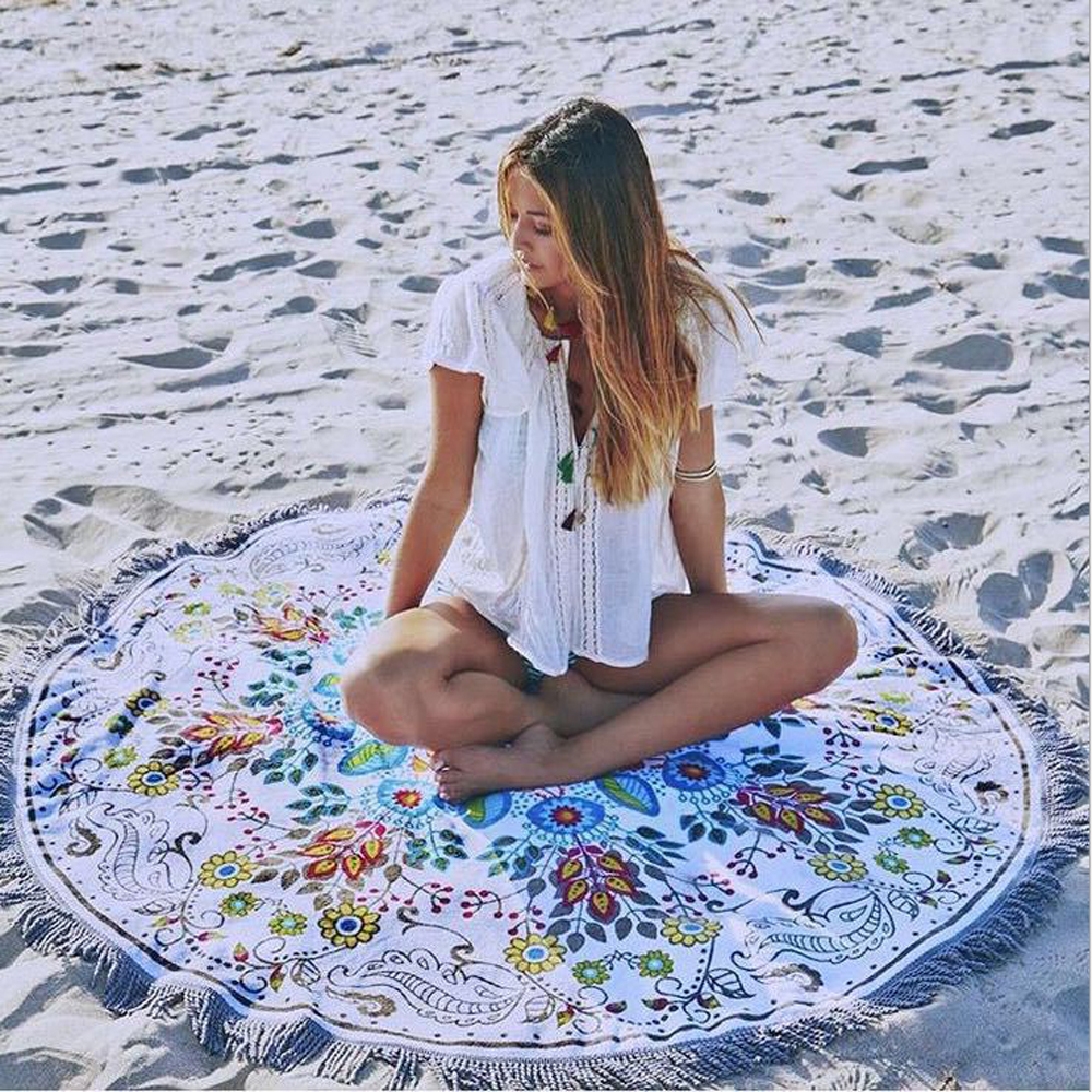 梨花HaNA 歐美浪漫春漾花卉圓形流蘇沙灘巾。沙灘墊。野餐墊。地墊astar -速