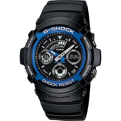 CASIO卡西歐 G-SHOCK 摩托車雙顯手錶-藍x黑