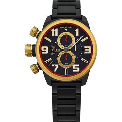 elegantsis Army ELJF48KS 三眼計時腕錶-IP黑x金時標/43mm