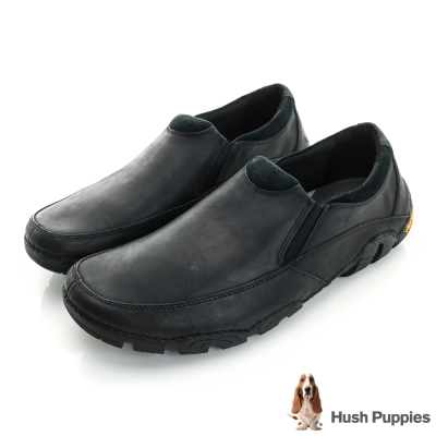 Hush Puppies FULLE 黃金大底直套式休閒鞋-黑色