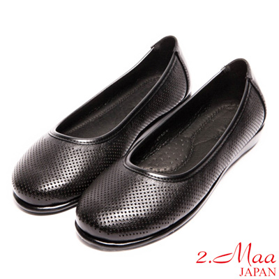 2.Maa-真皮沖孔舒適平底色鞋-黑