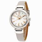 ELLE 珍愛灰姑娘玫瑰金指針皮革錶-珍珠貝x銀灰/32mm