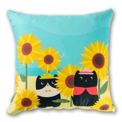 繪見幾米 向日葵貓 法蘭絨數位抱枕 45x45cm