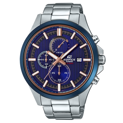 EDIFICE時尚運動風格賽車藍主題設計指針腕錶(EFV-520DB-2)47.2mm