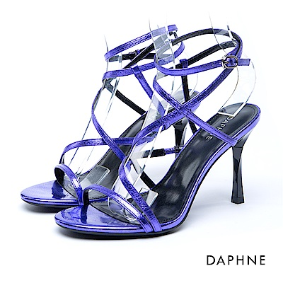 達芙妮DAPHNE 涼鞋-細帶繞踝方釦細高跟涼鞋-紫