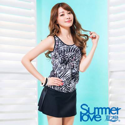 夏之戀SUMMERLOVE 比基尼泳裝 長版二件式泳衣 黑白普普風