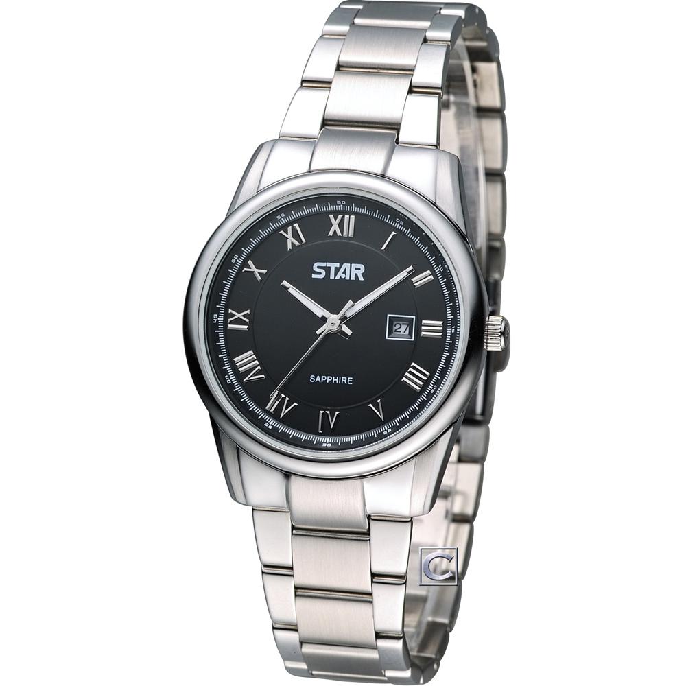 STAR 時代 時尚摩登仕女腕錶-黑/32mm