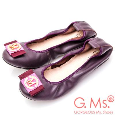 G.Ms. 牛皮織帶金飾彎折娃娃鞋-深紫