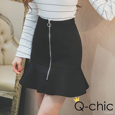 正韓 拉鍊圓環立體荷葉魚尾裙短裙 (黑色)-Q-chic