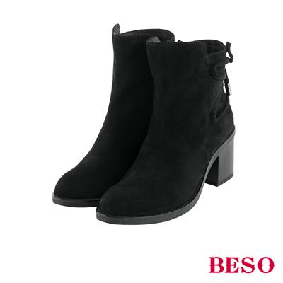 BESO法式女伶 馬甲繫繩綁帶粗跟短靴~黑