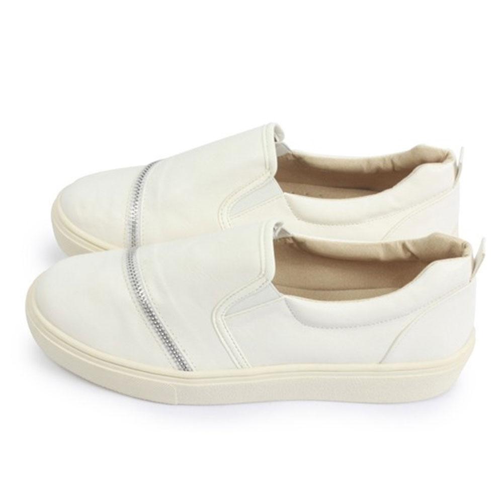 FUFA  MIT 造型拉鍊皮革厚底鞋 $690 (N32)-白色