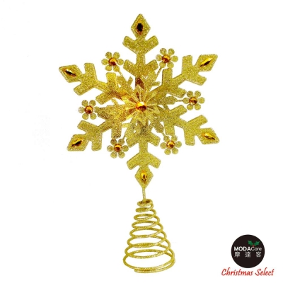 金色雪花聖誕樹頂星 (4尺以上聖誕樹適用)