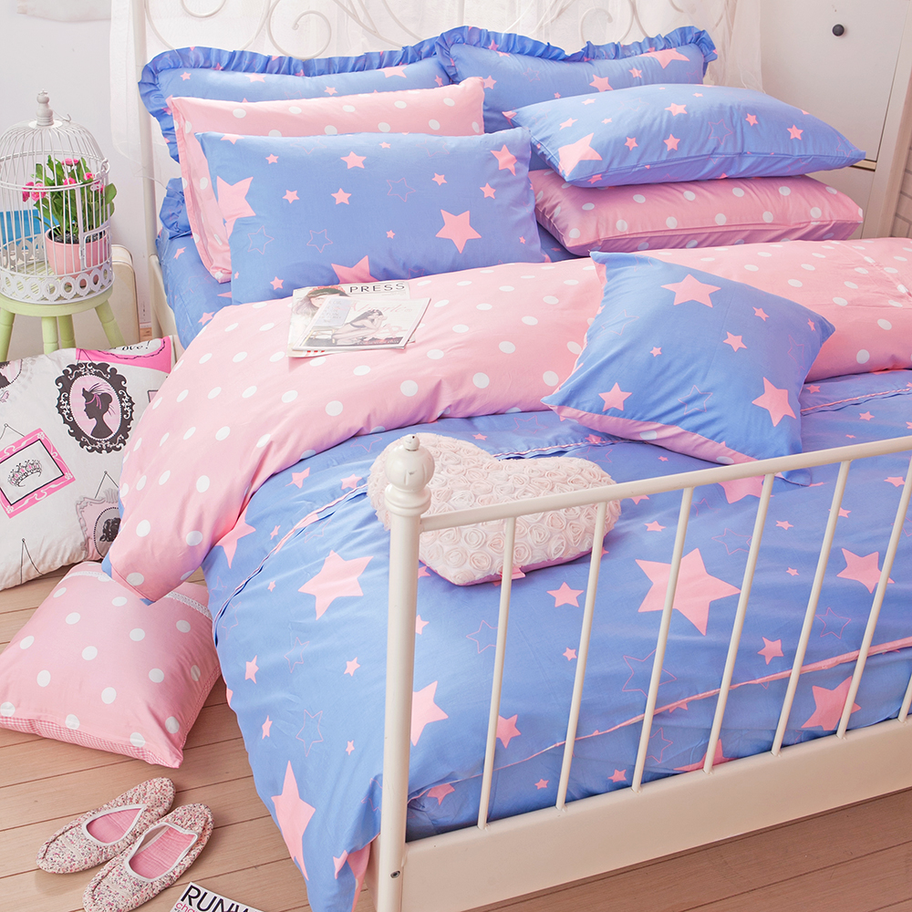 OLIVIA 星晴 粉藍  雙人床包被套四件組