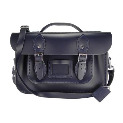 The Leather Satchel 英國手工牛皮劍橋包 肩背手提包 湖泊藍 12.5吋