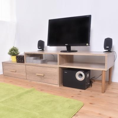 凱堡 雙層活動電視櫃組 簡易組裝 木紋風200x39x39cm