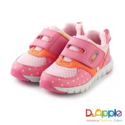 Dr. Apple 機能童鞋 經典格菱蘋果印刷休閒童鞋款 粉紅