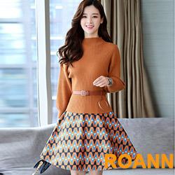 泡泡袖毛衣+波紋毛呢半身裙兩件套 (姜黃色)-ROANN