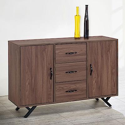 Homelike 蓋理4尺收納餐櫃(胡桃)-121x38x82cm
