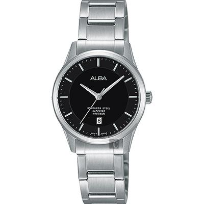 ALBA 城市簡約時尚女錶(AH7M21X1)-黑x銀/28mm
