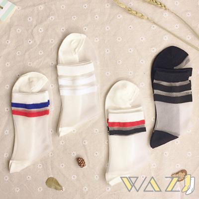 Wazi-學院橫槓玻璃絲襪水晶襪 (1組四入)