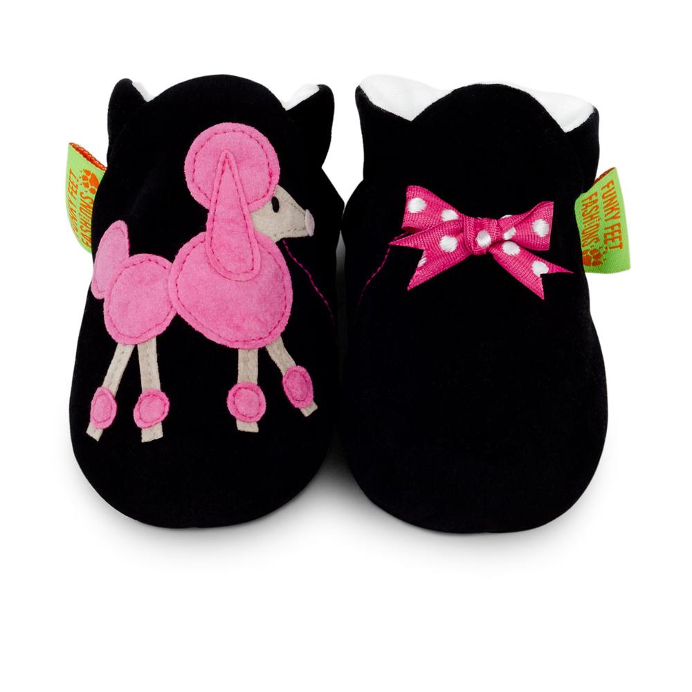 英國 Funky Feet 室內手工鞋- 黑色貴賓狗 FF001020