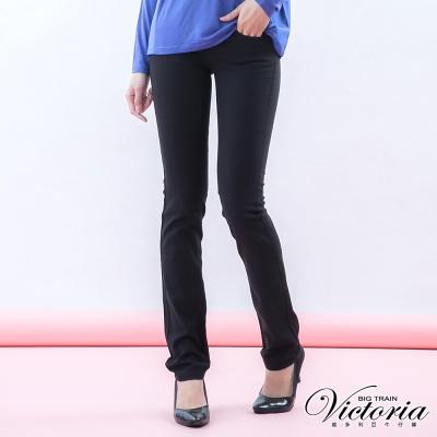 Victoria 基本斜紋小直筒褲-女-黑色