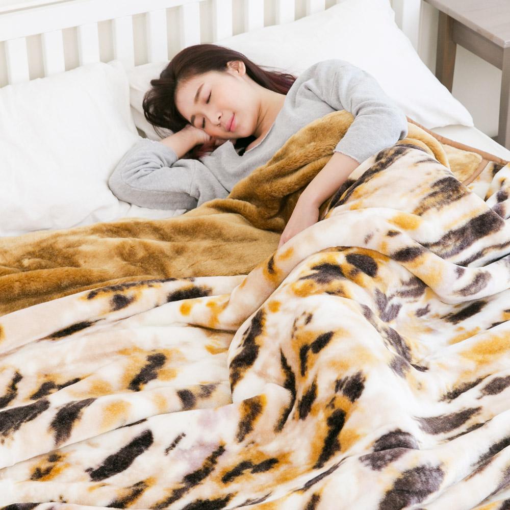 米夢家居-鳴球超保暖雙層加厚安哥拉仿羊毛毯(210*240CM)-斑斕虎紋(5.3公斤)