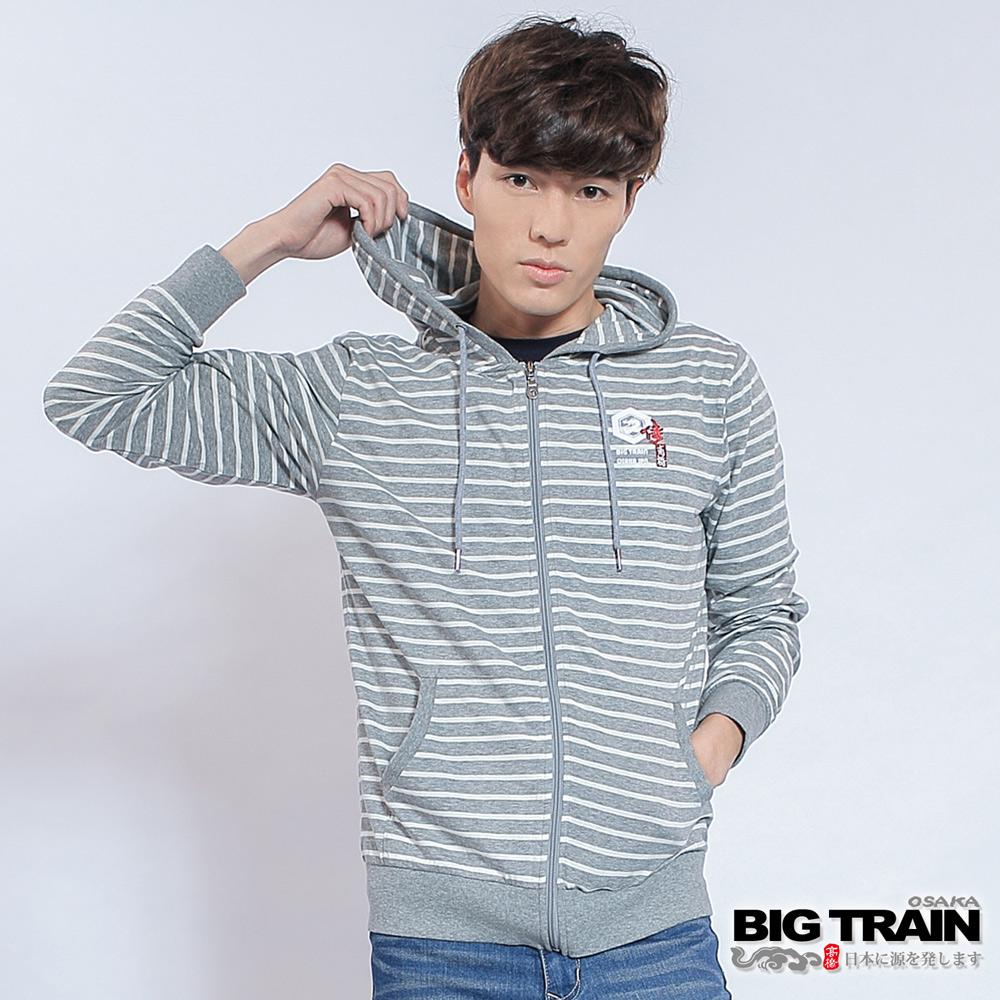 BIG TRAIN 男版條紋連帽外套-男-麻灰