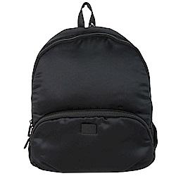 agnes b.皮標太空棉後背包-黑