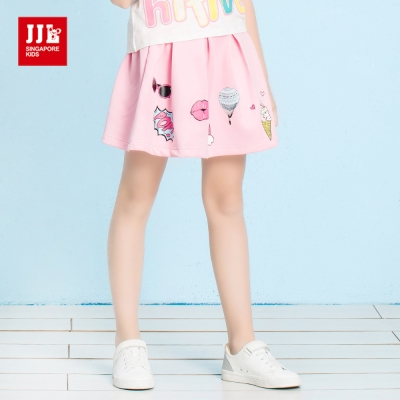 JJLKIDS 可愛俏皮女孩印花休閒短裙(粉紅)