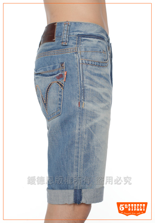 5th STREET 壯闊精髓 1965反折牛仔五分褲-男-拔洗藍