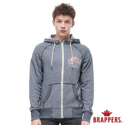BRAPPERS 男款 羅紋拼接連帽長袖外套-花紗藍