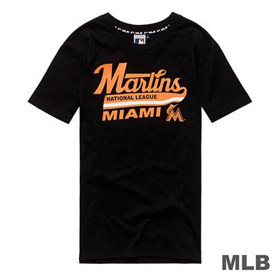 MLB-邁阿密馬林魚隊簍空英文造型印花短T-黑 (男)