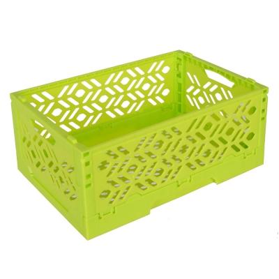 居家達人 創意摺疊式萬用收納盒/置物籃(亮綠)_2入