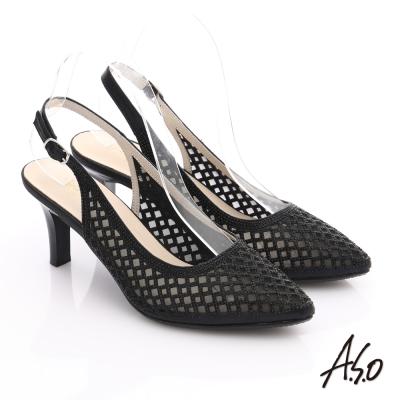 A.S.O 星光注目 質感燙鑽鏤空尖頭高跟鞋 黑色