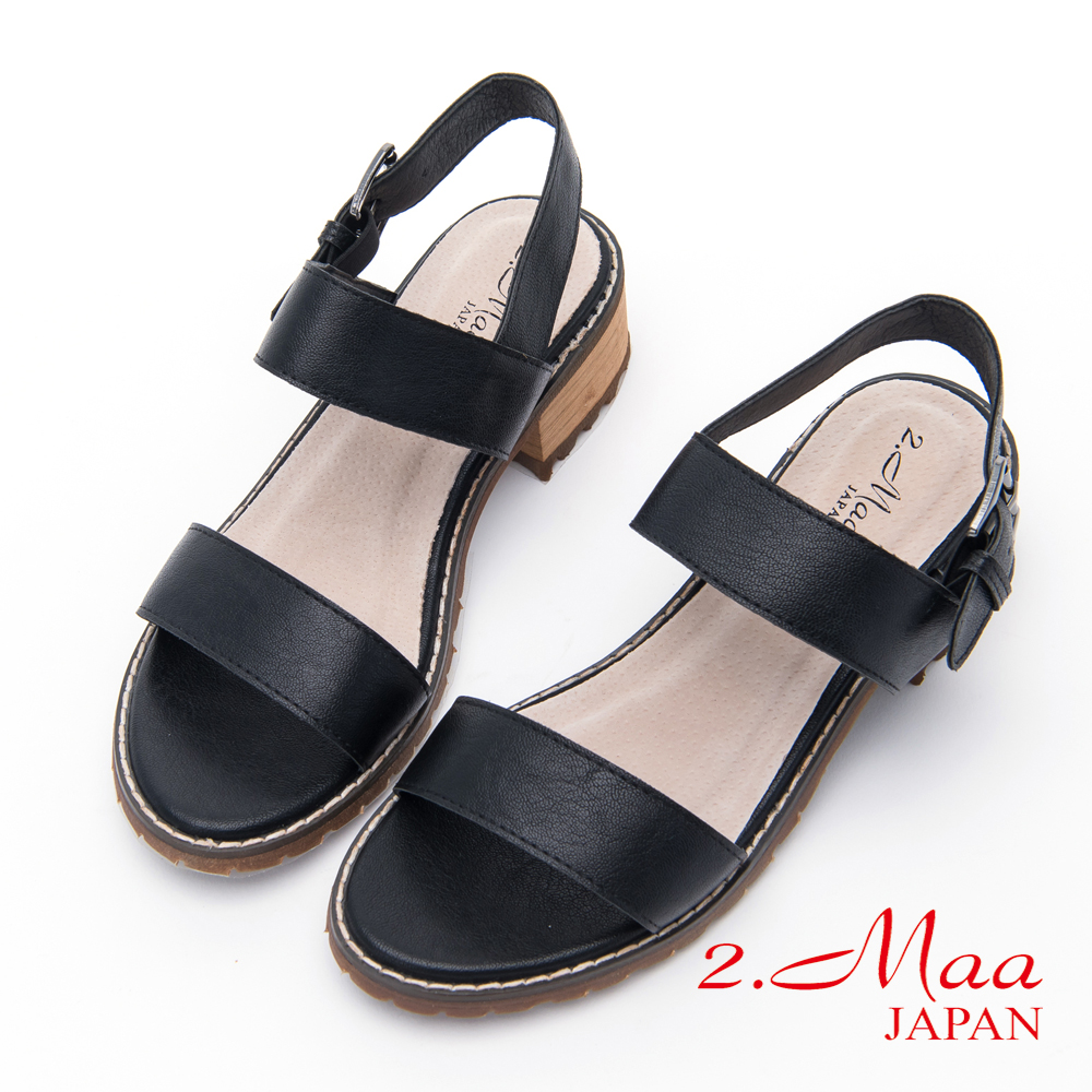 2.Maa - 時尚仿舊釦環休閒涼鞋 - 黑