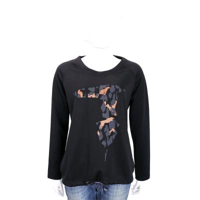 TRUSSARDI 黑色拼圖LOGO抽繩設計棉質長袖T恤