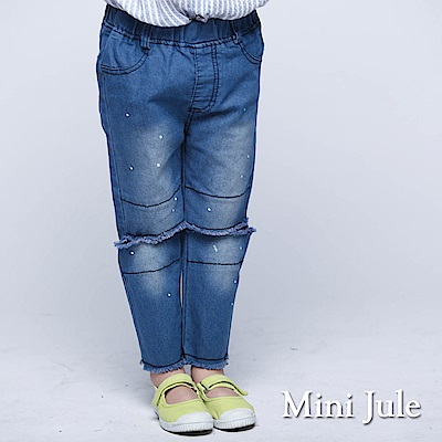Mini Jule 童裝-長褲 潑漆抽鬚造型休閒長褲(藍)