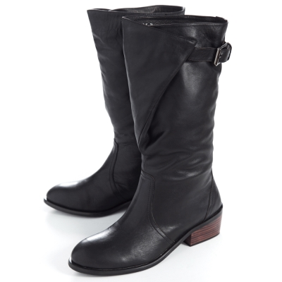 G.Ms. 流行前線-牛皮立領造型可調筒圍軍靴-獨特黑
