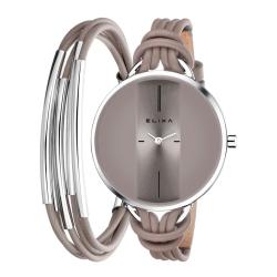 ELIXA Finesse精巧時間皮繩系列X手環組合 灰褐色38mm