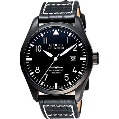 epos Passion飛行員戰鬥機機械腕錶-黑/44mm