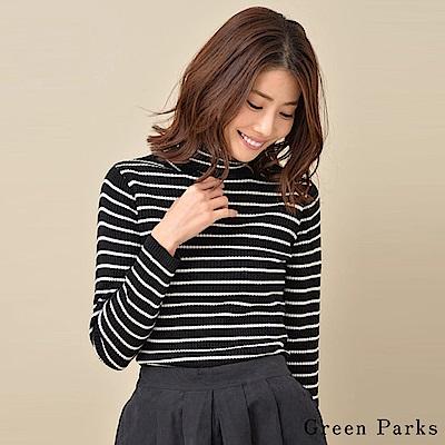 Green Parks 橫條紋高領保暖針織上衣