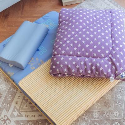 米夢家居 台灣製造 涼爽桂竹熱烘棉單人床墊+記憶枕+防蹣抗菌暖暖被(紫)外宿熱賣三件組