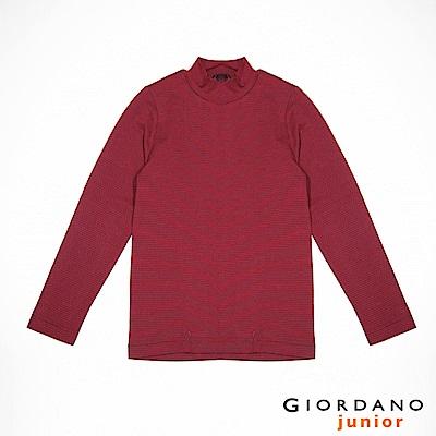GIORDANO 童裝G-Warmer彈力舒適高領極暖衣- 42 溫莎酒紅x烈鳥紅