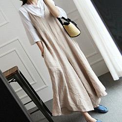 韓國 棉麻吊帶褲裙連身褲裙